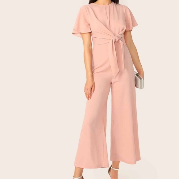 Bell Sleeve Knot Front Palazzo Jumpsuit